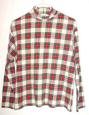 Hana Plaid Cream-Red-Black-Green-Pale Yellow Print Cotton Pullover Turtleneck-M