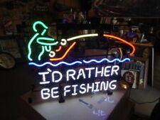 """New I'd Rather Be Fishing Beer Bar Neon Light Sign 24""""x20"""""""