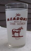 Vintage Adios Glass The Meadows Race Track 1971 harness racing winners horse