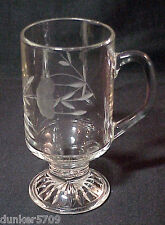 5 1/2 Inch High Clear Glass Mug With Attached Handle & Etched Designs