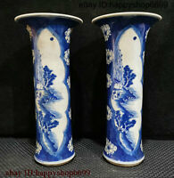 Chinese Dynasty Porcelain Mountain People And Water Home Flower Bottle Vase Pair