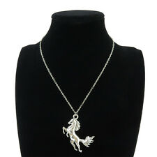 7-2 Silver Alloy Animal Galloping Horses Pendant Short Chain Collar Necklace 18""