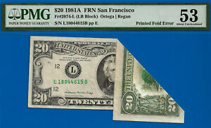 1981-A $20 FRN (( Fold Over Error )) PMG 53 - Only 2 Graded Higher - L18044615B-
