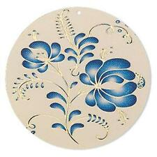 9790 Brass Pendant Disc Blue Floral 47mm PK1  *UK EBAY SHOP*