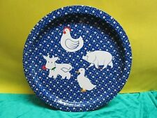Decorative Metal Tray Blue Calico Print Barnyard Farm Animals Hen, Cow, Pig,Duck