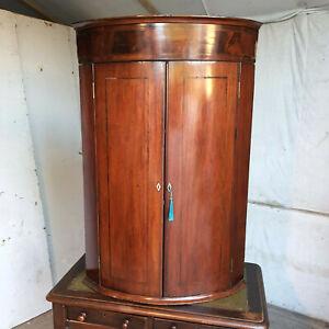 antique,georgian,mahogany,inlaid,large,bow front,corner cabinet,shelves,drawers