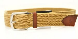 🔴Designer Polo Ralph Lauren Mens Braided Stretch Cotton Belt Tan Small 34