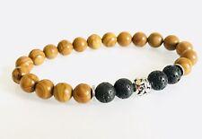 Black Brown Wood Grain Lava Beaded Men's Diffuser Bracelet Chakra Yoga Jewelry