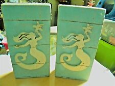 Two wood mermaid decorations for your home, office or beach house