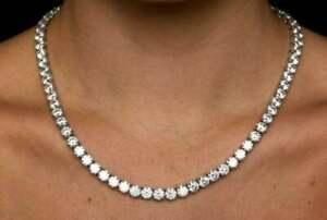 50Ct Round Cut VVS1/D Diamond Women's Tennis Pretty Necklace 14k White Gold Over