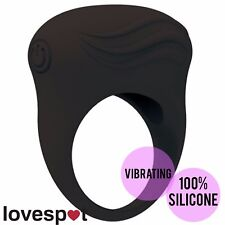 NEW Vibrating Silicone Cock Ring Penis Black Male/Couple Sex/Adult Toy