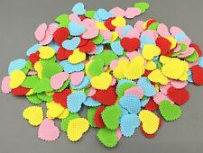 500pcs Mixed Colors Heart-shaped Plaid Felt Appliques Non-woven Crafts 20mm