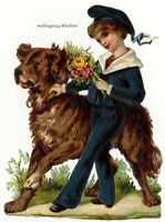 Vintage Victorian die cut paper scrap, Small boy with large dog c. 1876