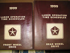 1999 CHRYSLER FRONT REAR WHEEL DRIVE LABOR OPERATIONS TIME SCHEDULES 2 BOOK SET.