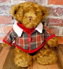 Vintage Gund Hagen Bear Plaid Jacket Red Turtleneck Stuffed Animal Plush Toy