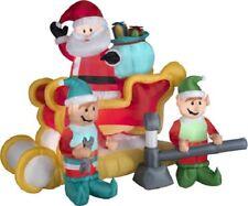 Gemmy Animated Airblown Inflatable Santa Tinkering Sleigh Scene