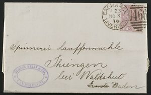 2 1/2d rosy mauve PLATE 15 (SG141/Sc67) folded letter 1876 to Baden, Germany