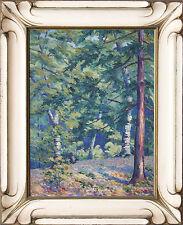 Antique European 20th Century Oil Painting Of Lush Forrest Landscape