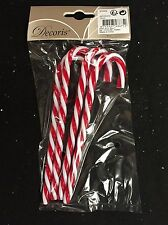 4 x Red & White Christmas plastic Candy Canes Tree Decorations Arts & Crafts
