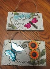 Set of 2 Cement Wall Hanging Plaques - Dream & Peace