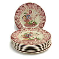 """Royal Doulton Pomeroy Red Set of 8 Luncheon Plates 9 1/2"""" Vintage"""
