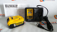 New One (1) DeWalt DCB205 20V Max XR Li-Ion Battery 5.0Ah & One Charger DCB115