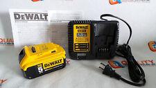 New One (1) DeWalt DCB205 20V Max XR Li-Ion Battery 5.0Ah & One Charger DCB115