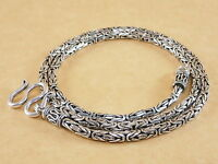 "Byzantine Bali Borobudur 925 Sterling Silver Pendant Necklace Chain 3mm 18"" 29g"