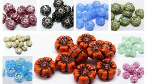 9MM CZECH PRESSED GLASS FLAT ROUND DISC FLOWER SPACER BEADS - 20PCS - 22 COLOURS
