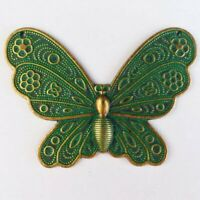 60x44x3mm Carved Brass Bronze Butterfly Pendant Bead S28799