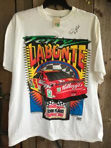 VTG 1996 NWT MENS XL TERRY LABONTE AUTOGRAPHED T-SHIRT KELLOGGS NASCAR COTTON