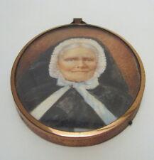 Antique Hand Painted Metal Framed Elderly Female Miniature Portrait 1850