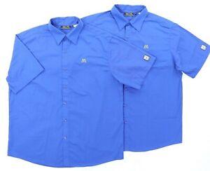 "McDonalds Apparel Adult Men XL 53"" S/S Button Shirt Blue Employee Uniform"
