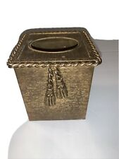 Gold Gilt Metal Twisted Rope Vintage Tissue Kleenex Box Holder