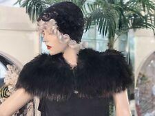 1920's DRESS FUR 1930's FLAPPER GATSBY Genuine Black FOX Fur Cape TRUE VTG Sl/M