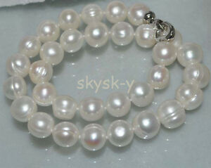 Huge 12-14mm Natural White Cultured Freshwater Pearl Necklace 18'' AAA