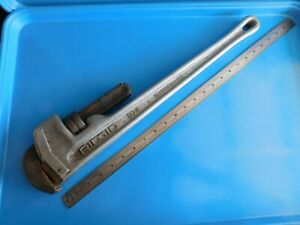 USED,  RIDGID  24 IN.  ALUMINUM H.D.  PIPE  WRENCH,  #824