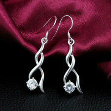 Ladies Silver Plated Single White Crystal Fashion Design Dangle Earrings