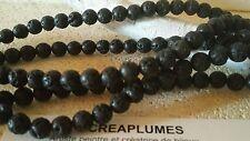 Lot de 20 perles de pierre lave naturelle noire 6.5mm