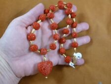 (v496) heart Red Cinnabar carved wood + gold brass Beads bead Necklace JEWELRY