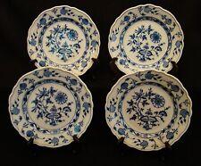 Set of 4 Antique Carl Teichert Meissen Blue Onion Luncheon Plates  c1882-1925