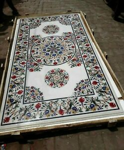 Marble Restaurant Table Top with Marquetry Art Dining table Size 30 x 60 Inches