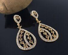 Gold Tone Crystal Style Drop Down Dangle Chandelier Earrings Wedding Fashion