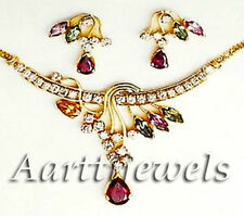 0.86ct Diamond Tourmaline 14k Gold Pendant Set Special Gift Of Mother's Day