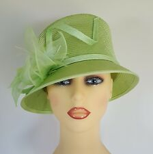 Ladies Formal Hat Wedding Races Lime Green Feathers By Whiteley