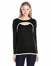 NWT NY Collection Long Sleeve Keyhole Neck Mesh Sweater Size XS Retail $50
