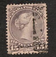 #29i  Purple Shade - Canada - 1868 -  15 Cent - Used  - F/VF - superfleas
