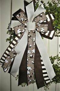 FALL COTTON BOW for DOOR WREATH SWAG GARLAND MAIL FENCE POST # 20 rb