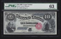 US 1880 $10 Legal Tender Jackass FR 113 PMG 63 Ch CU (-488)