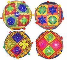 "INDIAN 16"" Round Seat Floor Cushion Ottoman Pouf Stool Cover Bohemian Decorative"
